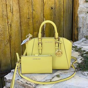 NWT Michael Kors md Ciara Satchel&wallet yellow